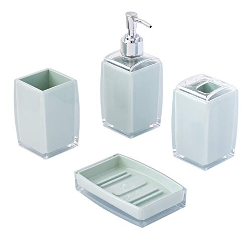 Modern Decorative Durable Acrylic 4-Piece Bathroom Accessory Set | Contemporary Opaque Turquoise | Bathroom Sink Countertop Organizer | Included Soap Dispenser, Toothbrush Holder, Tumbler, Soap Dish - [ A Perfect Bathroom Set ] - Featuring 1 tumbler, 1 toothbrush holder, 1 soap dispenser and 1 soap dish, a perfect completed bathroom accessory set to store all your toiletries. [ Durable Acrylic Made ] - Considered to be used as daily toiletries storage, we've used high level acrylic to make these compact designed accessories and make them last long to use. [ Vibrant Purple ] - Who doesn't love purple? Designed to balance the product color, these bathroom soap dispenser and soap tray are featured two-tone with clear acrylic on the edges and a nice, vibrant purple color as the body. Makes it ideal for newly remodeled bathroom or a classic old bathroom. - bathroom-accessory-sets, bathroom-accessories, bathroom - 31yY3Cmt4cL -