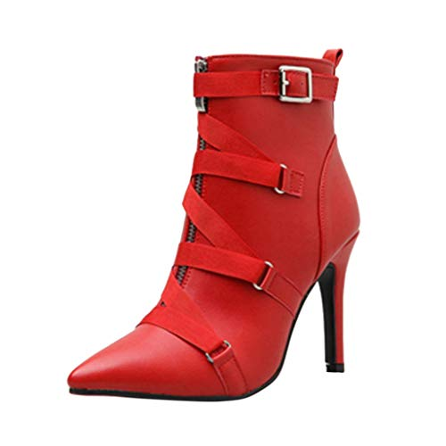 ◕‿◕ Loosebee◕‿◕ Women's Boots,Fashion Women Boots Cloth Buckles Red Solid Sexy Wild Party Thin Heels Shoes for Ladies (Justin Gypsy Girl Boots)