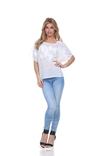 Women's Eyelet Top with Applique (Large) (Applique Eyelet)