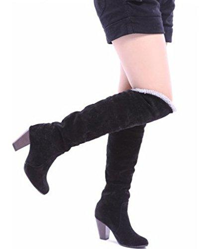 Genoux Talon Chunky Automne Boots Femme Bottes Hiver Biker Boucle Minetom Haut Talon Bottes tqBO6nwFn1