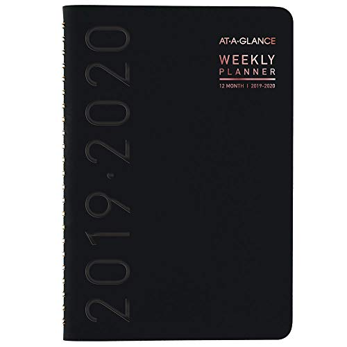"""AT-A-GLANCE 2019-2020 Academic Year Weekly & Monthly Planner, Small, 5"""" x 8"""", Contempo, Black (70101X05)"""