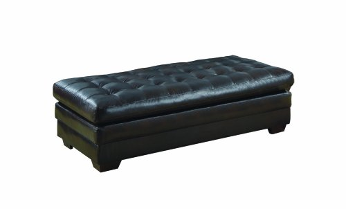 Harley Leather Black 4Tray Top Storage OttomanStorage Ottomans