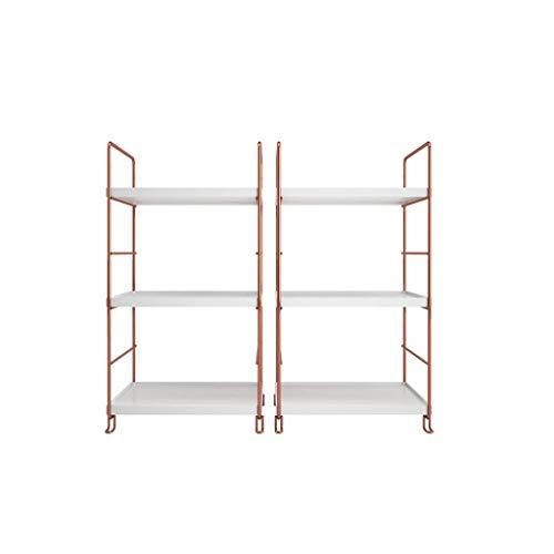 Der Organize Storage cabinets, Shelf Economy is Modern and Simple Desk Shelves Living Room Turquoise Racks Triangular Bookshelf Desktop Shelves White Gold Storage Rack (Color : 2-Rectangle)