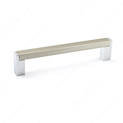 (RICHELIEU HARDWARE - Contemporary Metal and Aluminum Pull - BP801128140 (128mm, Chrome/Brushed Nickel))