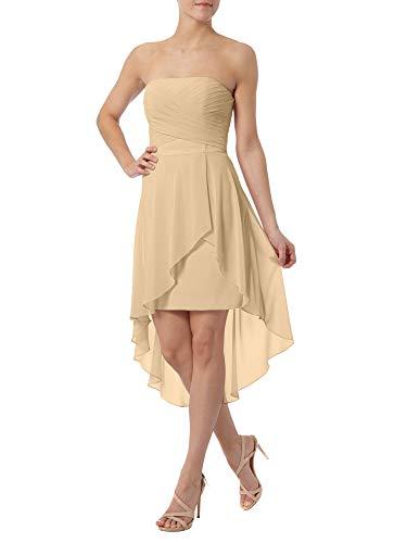 Partykleider Abendkleider Traegerlos Braut Kurz Mini Tanzenkleider La Brautjungfernkleider Marie Champagner XYq4x4