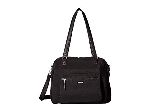 Baggallini Women's New Classic Overnight Expandable Laptop Tote with RFID Phone Wristlet Black One Size (Tote Large Expandable)