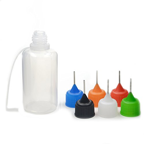 6pcs Dropper Steel Needle Bottles Tip 7 Sizes Plastic Drip E-juice Liquid Filling Squeezable Childproof Mix Color(30ml+Mix Color Pack of 6pcs)