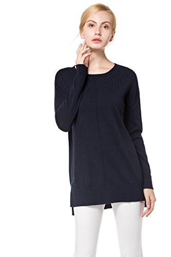 KNITBEST Women's Knitwear Long Sleeve Round Neck Knit Merino Tops With Rib Trim