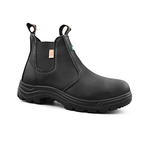 Tiger Women's Safety Boots Steel Toe Lightweight ASTM CSA Slip On Leather Work Boots 925 (8(2E) US, Black) ()
