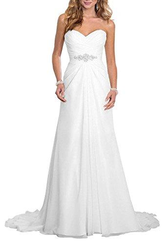 White Strapless Wedding Gown (Nina White Strapless Beach Wedding Prom Bridal Chiffon Ruffle Dress)
