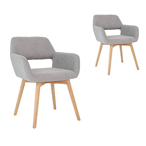 Lansen Furniture Set of 2 Modern Living Dining Room Accent Arm Chairs Club Guest with Solid Wood Legs Grey