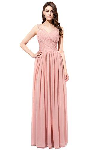 Firose Long Chiffon Bridesmaid dress Lace See-through Prom Dress ROSE QUARTZ US 10