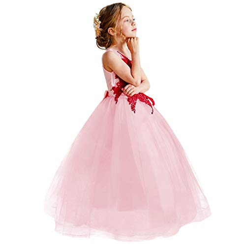TTYAOVO Girls Embroidered Princess Pageant Ball Gowns Wedding Party Dress Size 11-12 Years Peach