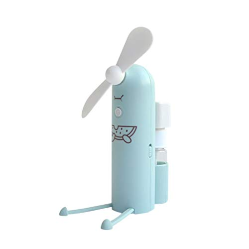 LiboboUSB Mini Fan with Water Spray Bottle Cartoon Handheld Fan for Office Desktop (Green)