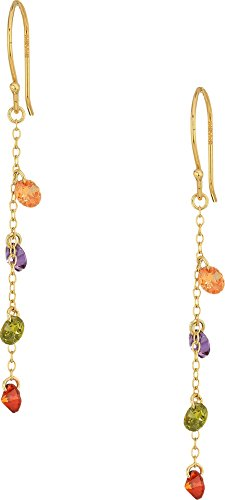 Gold Tone Vermeil Earrings (SHASHI Women's Millie Linear Multicolor Earrings Gold/Vermeil/Multicolored Stones One Size)