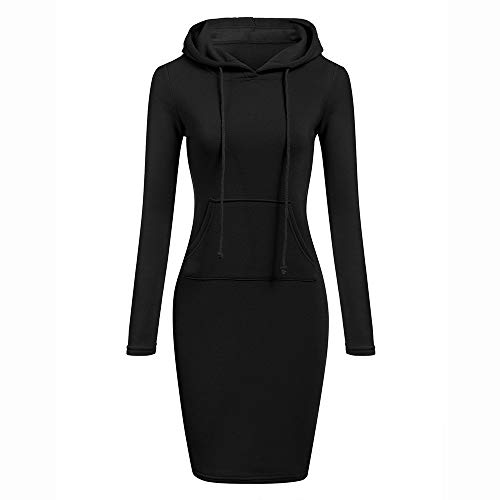 GOVOW Long Hooded Trench Coat Women Long Sleeve Solid Patchwork O Neck Casual Sweatshirt Dress(US:12/CN:XXL,Black)