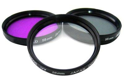 Sakar 43mm 3-Piece Polarizer/UV/F-DL Filter Kit, Metal Rim with Leather Case, 15 Year Warranty