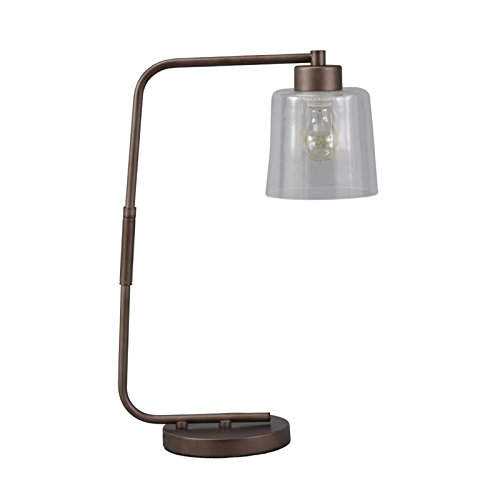 Ashley Furniture Signature Design - Kyron Metal Desk Lamp with Clear Glass Shade with in-Line Switch - Industrial - Clear/Bronze Finish