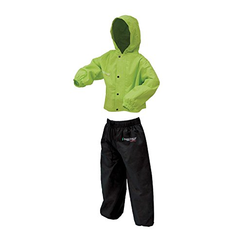 Frogg Toggs Polly Woggs Waterproof Breathable Rain Suit, Youth, HiVis Green, Size Medium