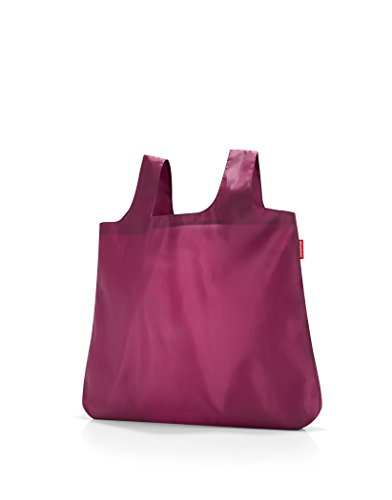 reisenthel Mini Maxi Shopper, Packable Reusable Shopping Tote with Carrying Pouch and Clip, Damson