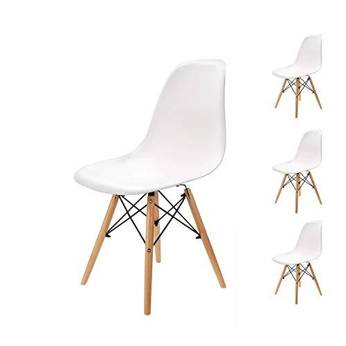 Pack 4 sillas de Comedor Silla diseno nordico Retro Estilo (Blanco-4)