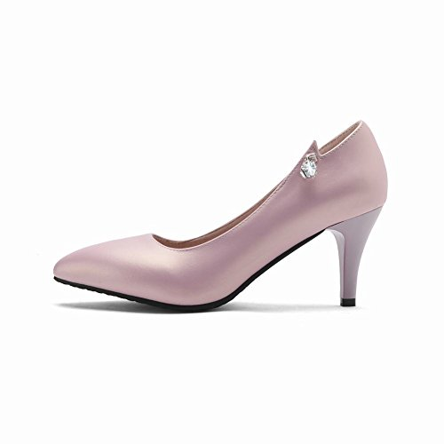 Mee Shoes Women's Elegant Slip On Pointed Toe Court Shoes Pink o7l5oKX