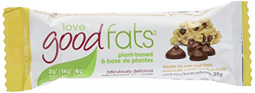 Love Food Fats Plant Based Bars, Chocolate Cookie Dough (Vegan, Keto Friendly, Low Carb, Low Sugar, Gluten-Free, Non GMO) 1.38 Ounce, 12 bars