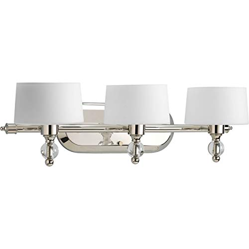 Etched White Opal Glass Diffuser - Progress Lighting P2927-104WB Fortune Collection 3-Light Vanity Fixture, Polished Nickel