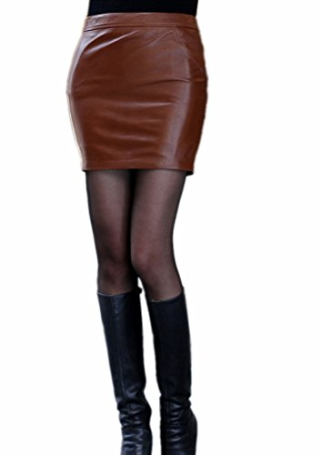 Queenshiny Women's Real Sheep Leather Short Skirt Miniskirts-Coffee-M(8-10) by Queenshiny