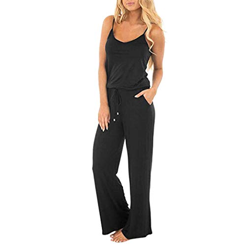 - Sunyastor Womens Short Sleeve One Piece Jumpsuit Cocktail Romper Pant Suit Clubwear Straight Leg Jumpsuit with Belt (D Black, Medium)
