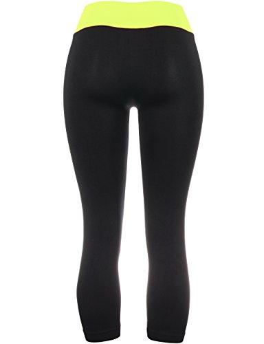 BEKDO Womens Basic Soft High Waist Two Tone Capri Leggins-ONE Size-S_Lime_Black