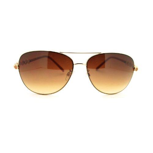 Women's Chain Temple European Designer Fashion Aviator Sunglasses Gold Tan (Womens Tan Sunglasses)