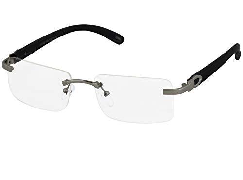 Elite Slim Rimless Rectangular Metal & Wood Art Aviator Sunglasses (Silver - D. Brown Wood Clear) ()