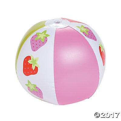 Inflatable Strawberry Party Beach Balls - 12 ct