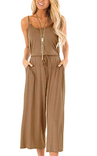 ECOWISH Women Summer Sleeveless Casual Jumpsuit Spaghetti Strap Waist Drawstring Solid Rompers with Pockets 954Brown Small ()