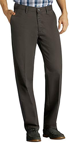 Dress Gray Charcoal Pants (LEE Men's Total Freedom Stretch Relaxed Fit Flat Front Pant, Charcoal, 38W x 32L)