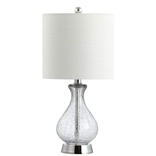 """JONATHAN Y Playa 21"""" Metal/Bubble Glass LED Table Lamp, Chrome"""