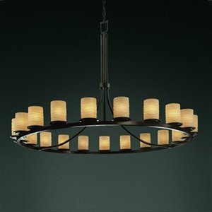 Justice Design Group POR-8716 Dakota 21 Light 1-Tier Ring Chandelier from the Li, Dark Bronze with Waterfall Shades