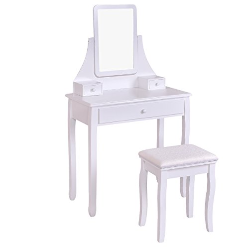Giantex White Vanity Dressing Table Set Mirror Bedroom Furniture with Stool