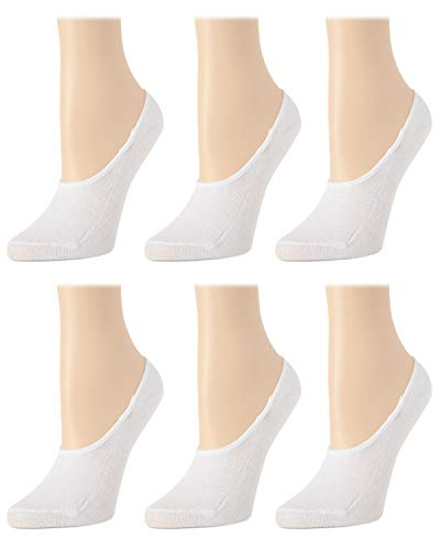 'Body Glove Women's 6 Pack No Show Liner Socks with Non-Slip Grip, White, Size Shoe Size: 4-10'