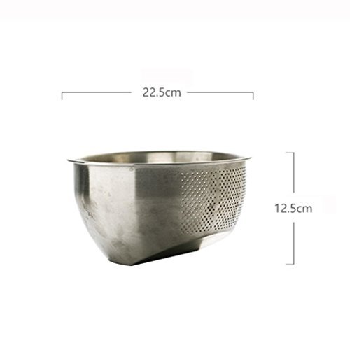 He Xiang Ya Shop Stainless steel cleaning fruit and vegetable basket kitchen tool drain basket home rice washing storage basket thick desktop fruit and vegetable storage rack by He Xiang Ya Shop (Image #6)