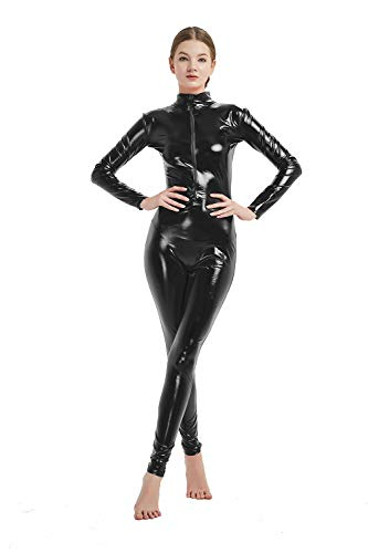- 31yYbvJIg4L - Full Bodysuit Womens Shiny Metallic Without Hood Gloves Socks Chest Zipper Lycra Adult Costume Zentai