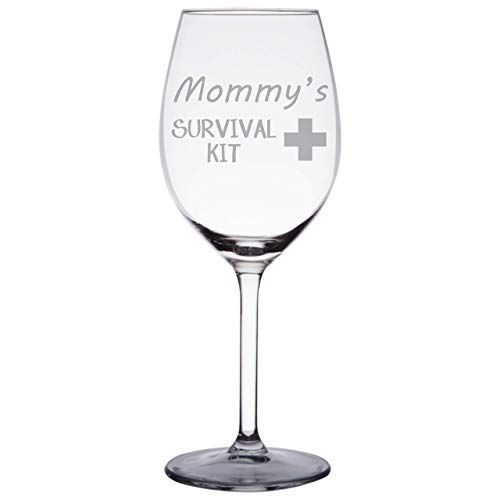 Engraved Wine Glass for Moms - Mommys Survival Kit 11 oz Wine Glass Gift for New Moms, Mothers Day, Christmas - WG13