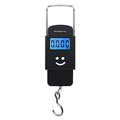 MOOBOM Portable Backlit LCD Display Digital Fishing and Luggage Hanging Hook Scale 110lb/50kg
