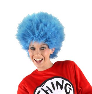 Elope Dr Seuss Thing 1 Thing 2 Blue Fuzzy Wig For Women & Men]()