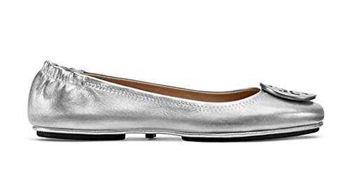 Tory Burch Minnie Travel Ballet Flat With Logo Pearlized, Sz 9.5 Silver