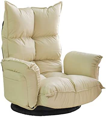 ソファー フロアソファ家庭用怠惰なソファ|背もたれ椅子PU折りたたみバルコニーベイウィンドウチェア|小さなソファ A+ (Color : Off white)