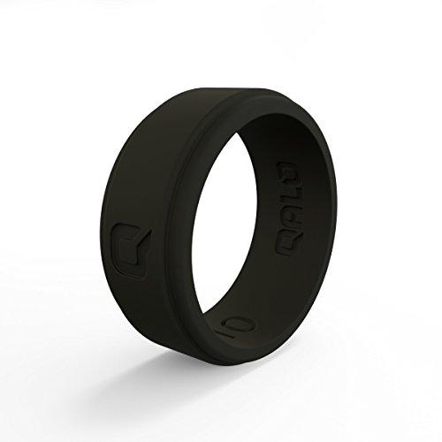 QALO - Anillos de Boda de Silicona funcionales para Hombre, Q2X, colección Step Edge, Borde, Negro, Tamaño 10