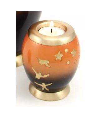 Brass Tealight Urn with Candle Urn 5 Inches for Human Ashes