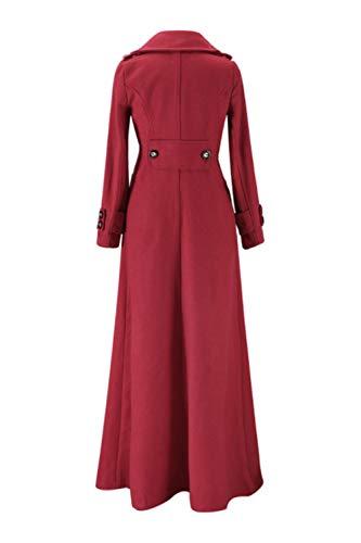 Sólido Largo Casual Mujer Trenchcoat Maxi Top De Abrigo Outwear Para Rojo Delgado Guisante WpqIc0p6w8
